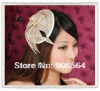 linen and veils fascinator hats beige color sinamay base headwear Free shipping whole sale and retail the fashion new handmade