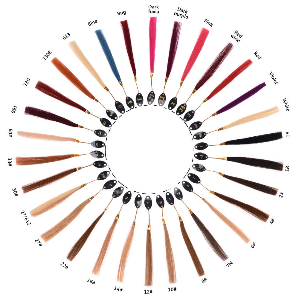 FASHION LADY Pre-colored Human Hair Color Chart 100% Human Hair Weave For Customized Color Comparing And Choosing