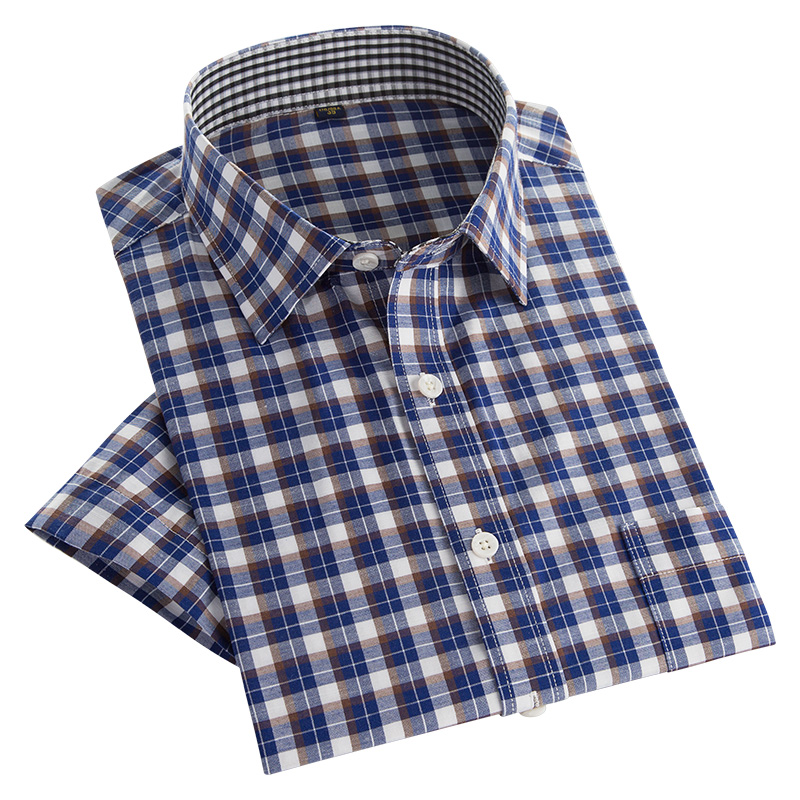 Summer Style Men's Casual Plaid Shirts Short Sleeve Slim Fit Shirts New Fashion Patchwork Colors Men Business Social Shirt-in Casual Shirts from Men's Clothing