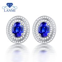 Natural AAA Tanzanite Stud Earrings For Women Solid 14k&585 White Gold 585 Diamond Tanzanite Earrings Tanzanite Jewelry ESR06