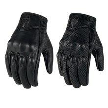 2015 ретро преследования перфорированная натуральная кожа перчатки мотоцикла moto водонепроницаемый перчатки мотоцикла защитная gears мотокросс перчатки