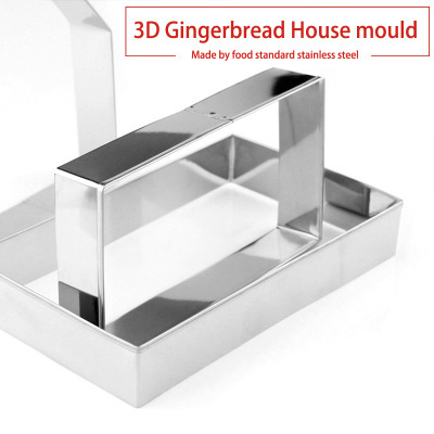 10pcs 3D Gingerbread house Stainless Steel Christmas Scenario Cookie Cutters Set Biscuit Mold Fondant Cutter Baking Tool 3