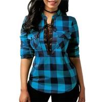 Women Plaid Shirts 2018 Spring Long Sleeve Blouses Shirt Office Lady Cotton Lace Up Shirt Tunic