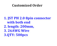 Customized 500pcs JST PH 2.0mm 8 pin connector with both end, cable legnth 200mm with 26AWG wire shipping by DHL