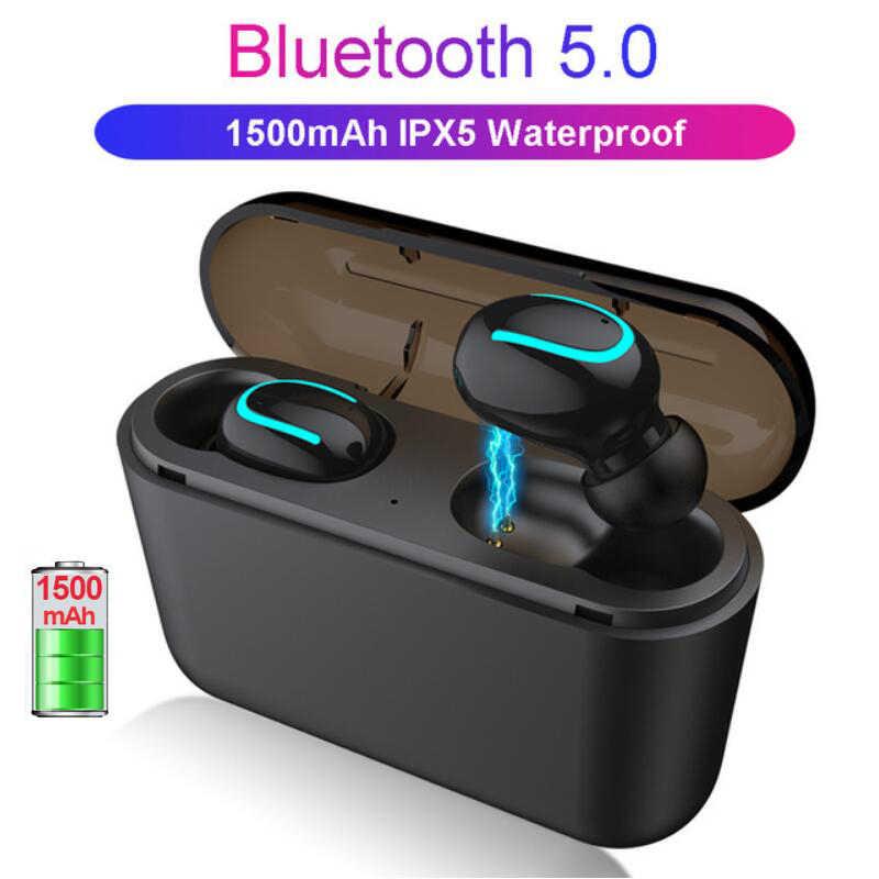 Słuchawki Bluetooth słuchawki 5.0 + EDR sport Mini słuchawki TWS z 1500 mAh ładowarka Case Q32 bezprzewodowa słuchawki do telefonu komórkowego