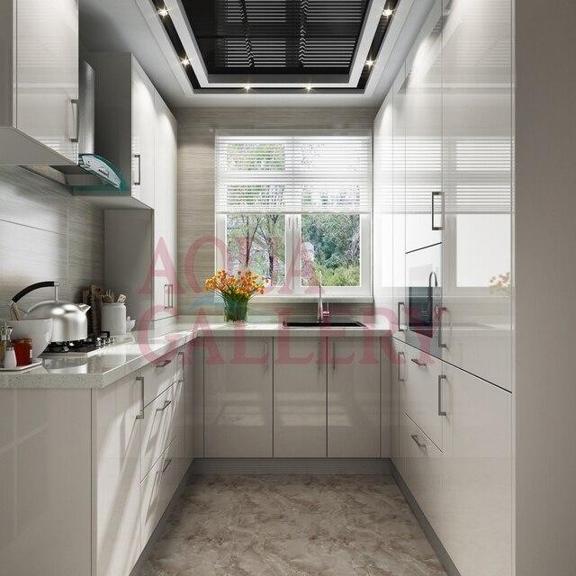 El último Diseño Moderno Blanco en forma de U de Gabinetes de Cocina ...