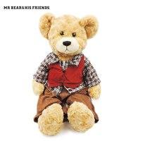 55 cm Duże Miękkie Lalki Duże Misie pluszowe Wypchane Zabawki Pluszowe chłopiec Teddy Misia z Garnitur Dla Dzieci Zabawki Dla Dzieci Prezenty tkaniny