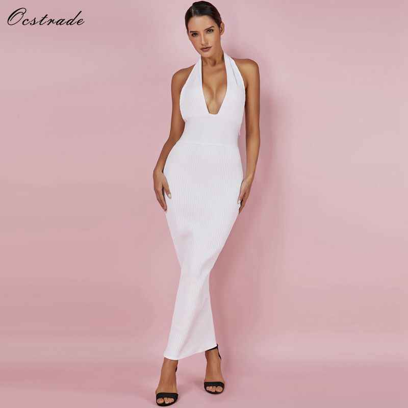 Ocstrade Womens Sexy Bandage Jurk 2019 Club Wear Zomer Backless Wit Bodycon Jurken Hollow Out Vneck Lange Maxi Bandage Jurk