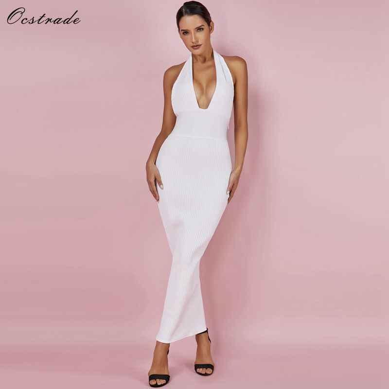 Ocstrade femmes Sexy robe de pansement 2019 tenue de club été dos nu blanc robes moulantes évider Vneck longue Maxi robe de pansement