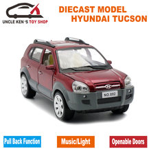 1:24 Scale Diecast Hyundai Tucson Model, 18CM Alloy Car, Boys Metal Toys With Gift Box/Pull Back Function/Light Sound(China)