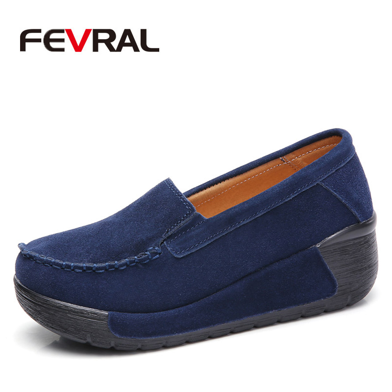 FEVRAL 2019 Autumn Woman Flats Shoes Platform Sneakers Shoes   Leather     Suede   Casual Shoes Slip On Flats Heels Creepers Moccasins