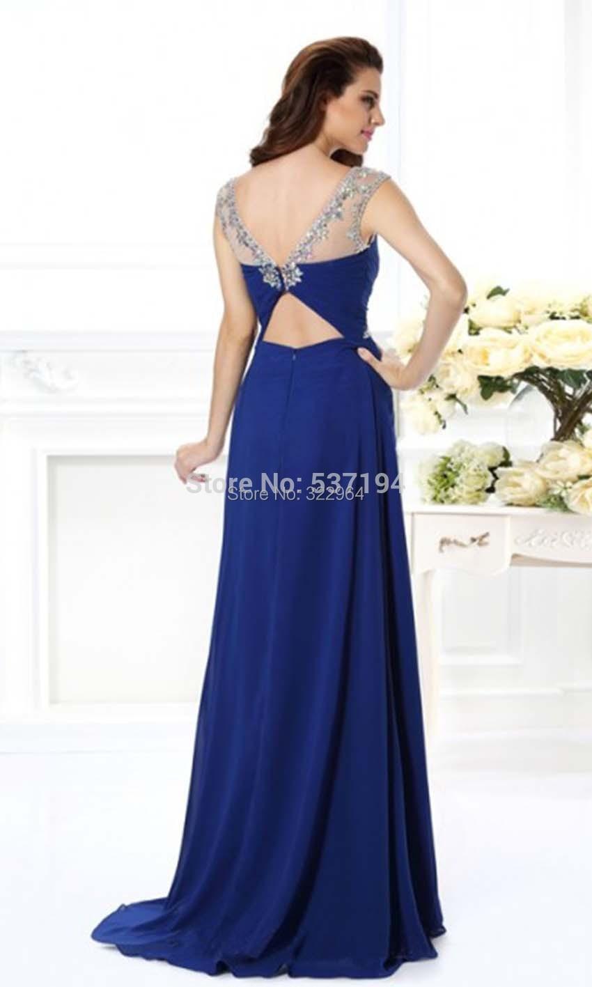 Fashion Royal Blue Chiffon Abendkleider Lang 11 Long Beaded