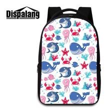 Dispalang Brand Laptop Backpack Sea Animal Dolphin Printing Notebook Computer Backpacks Large Capacity Women Men School