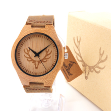 BOBO BIRD Bamboo Wood Watch with Cow Leahter Strap Quartz Analog Unisex Wooden Wristwatch