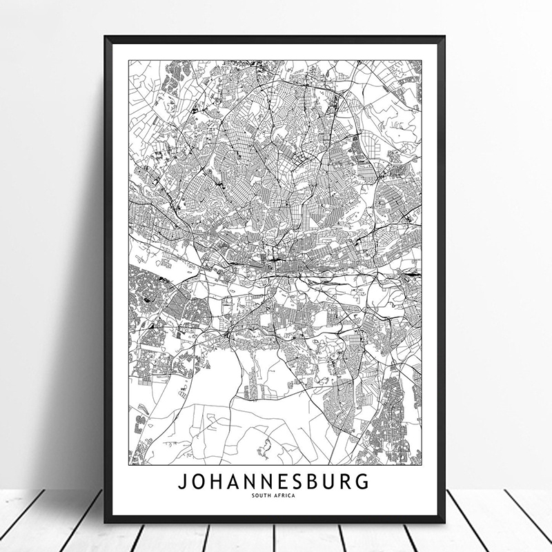 US $10.78 10% OFF Johannesburg Black White Custom World City Map Posters  Prints Nordic Style Wall Art Pictures Home Decor Canvas Painting-in  Painting ...