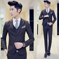 Men Suits For Wedding 2016 New Brand Mens Plaid Suits Slim Fit Korean Mens Dress Suit Wedding Party Business Prom Suits 3pcs
