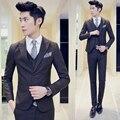 Ternos para ternos de casamento 2016 nova marca xadrez magro coreano dos homens vestido de festa vestidos de baile 3 pcs