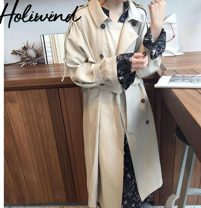 2019 Autumn Double Breasted Mid-long   Trench   Coat Korean Style Fashion Women Beige Slim Belt Cloak Mujer Windbreaker Female