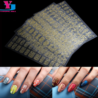8Pcs Mix Design Gold & Silver Metallic 3D Nail Art Stickers Perfect UV Gel Polish Nail Decals Full Cover Tips Sticker Wholesale