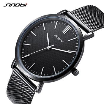 SINOBI Business Mannen Horloge Ultra Dunne Wijzerplaat Quartz Sport Horloge Mannen Roestvrijstalen Gaas Horloges Top Brand Luxe Relogio Masculino