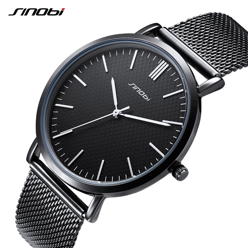 SINOBI top brand men watch ultra thin dial quartz sports watch men's stainless steel mesh belt business watch Relogio Masculino bgg brand creative two turntables dial women men watch stainless mesh boy girl casual quartz watch students watch relogio