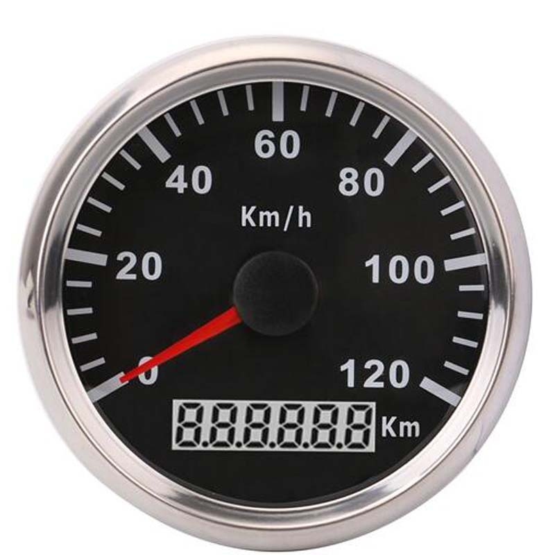 Waterproof 85mm Universal GPS Speedometer Gauge 120 km/h Boat Car Speedometer Gauge With Backlight fit Universal GPS Meter 52 mm universal digital gps speedometer odometer fit car boat gps speed sensor with backlight 316 l 9 32v km h adjustable