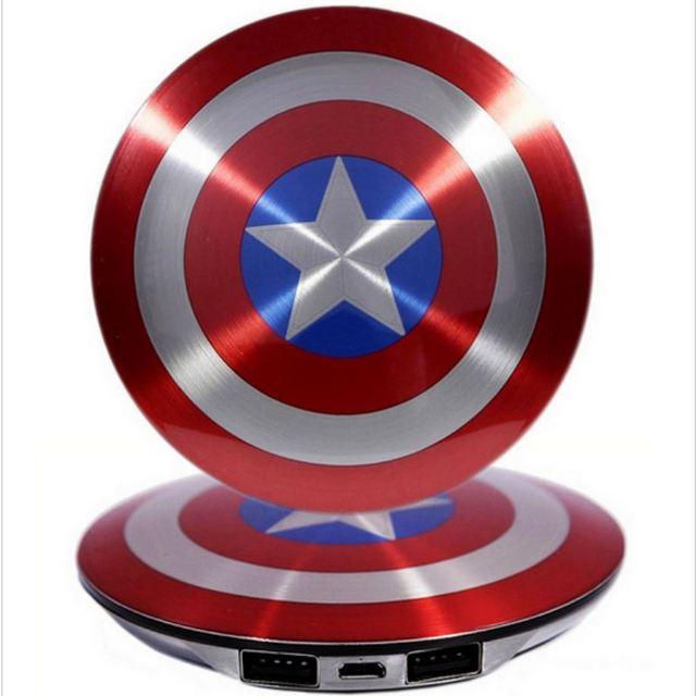 Lujo nuevo estilo Banco de la Energía 7000 mAh Alta Calidad Capitán América Po Desafío móvil Powerbank Externo portátil batería