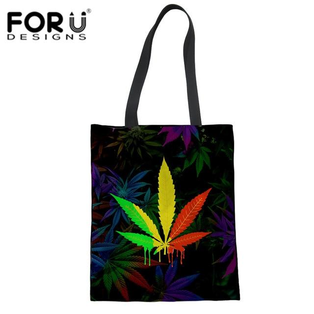 0de7add4b122 FORUDESIGNS Funny Rainbow Leaves Print Canvas Tote Bags Shopping School  Books Trip Bag Women Shoulder Bag Reusable Shopping Bags