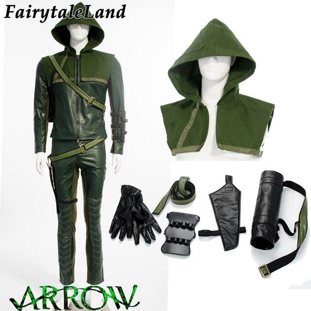Cosplay Costume Hommes Héros En Super Arrow Green Veste Pour Cuir wxOxPSW