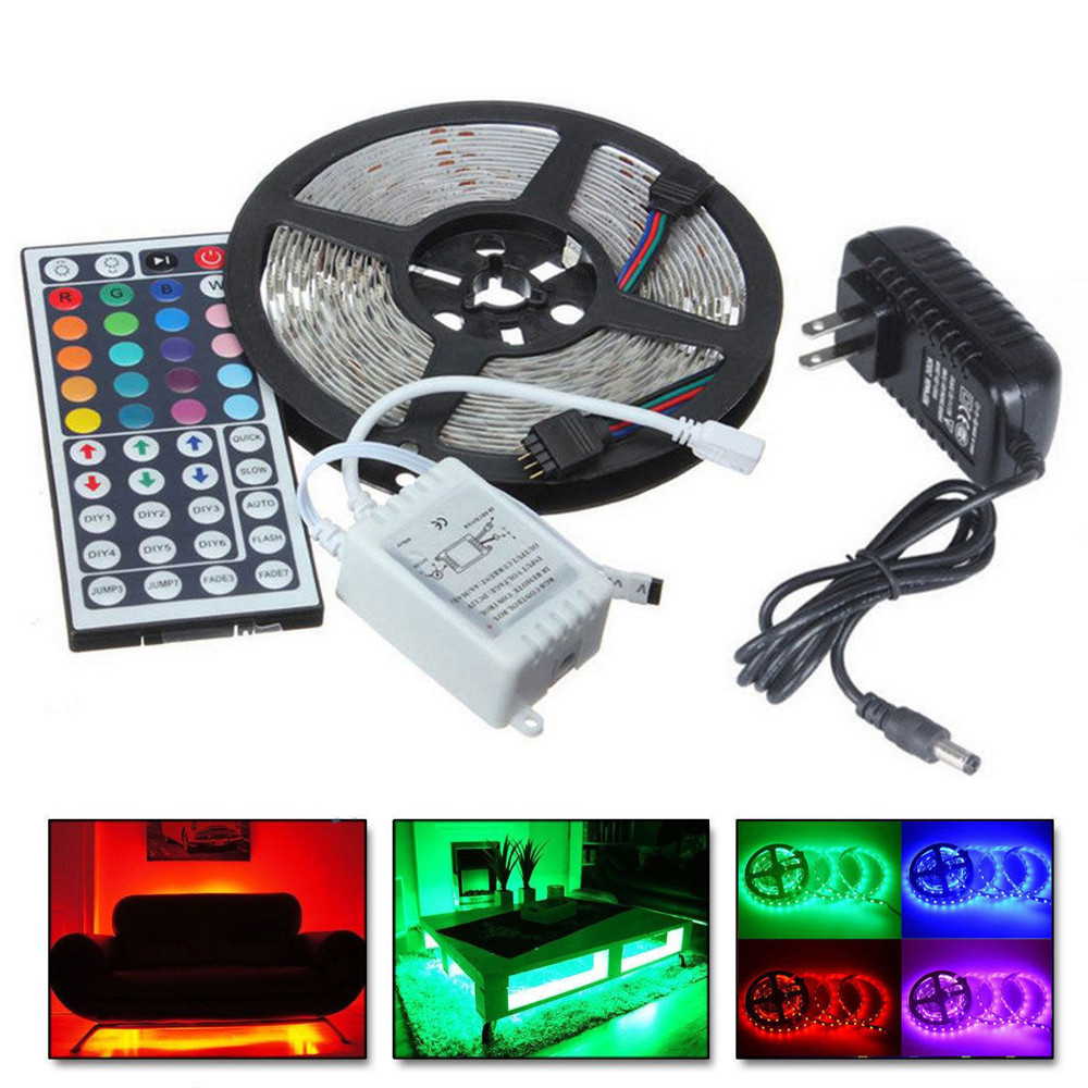 e1b7e3e9ee0 New Qualified Dropship 5M RGB 5050 Non Waterproof LED Strip Light SMD 44  Key Remote 12V Power OC16