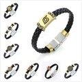 HC 6pcs/lot Anime Cartoon Bleach Naruto Konoha Black Butler Bracelet  Conan Maganetic Button One Piece Wristband Kids