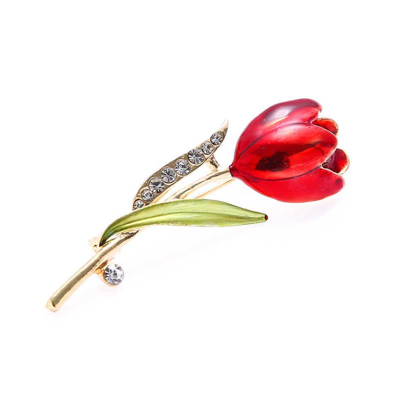 Elegan Merah Tulip Bunga Rhinestone Bros Pin untuk Wanita Kristal Kostum Bros untuk Pernikahan Perhiasan Aksesoris Pakaian Z4