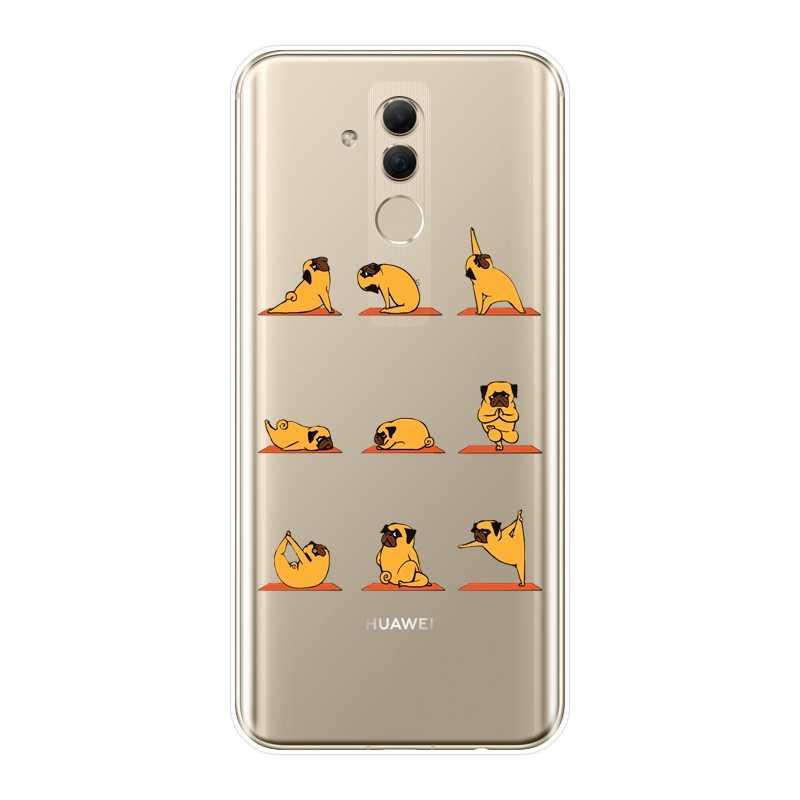 Posteriore Della Copertura Per Huawei Mate 9 10 20 Pro Yoga Maiale Pug Corgi Dog Cat Cassa Molle Del Silicone Per Huawei compagno di 7 8 9 10 20 Lite Cassa Del Telefono