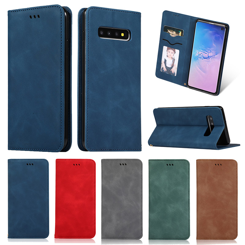 for Samsung Galaxy S10 Plus S10E <font><b>S105G</b></font> Case PU Leather Wallet Card Slot Holder Magnetic Flip Cover for Samsung S8 S9 Plus Case image