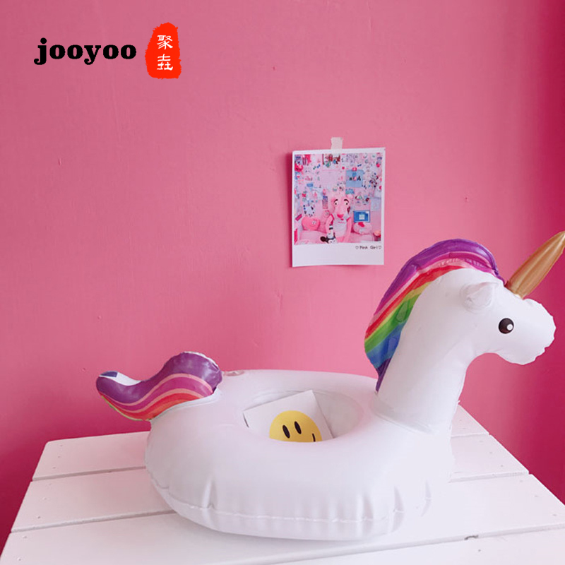 Hot Unicorn Mini Inflatable Shape <font><b>Water</b></font> Swimming Pool Drink Cup Stand Holder Float Toy Coasters For <font><b>Water</b></font> Beverage Beer <font><b>Bottle</b></font> image