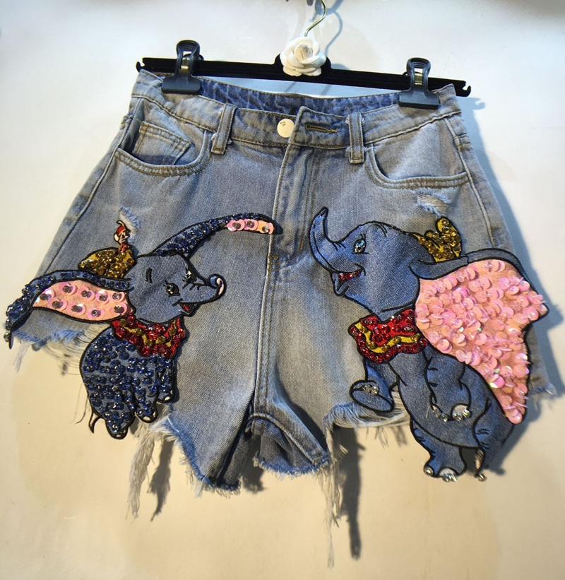 Heavy Work Elephant Patch Sequins Diamond Denim Shorts Women Summer Loose Hole Wide Leg Jeans Shorts