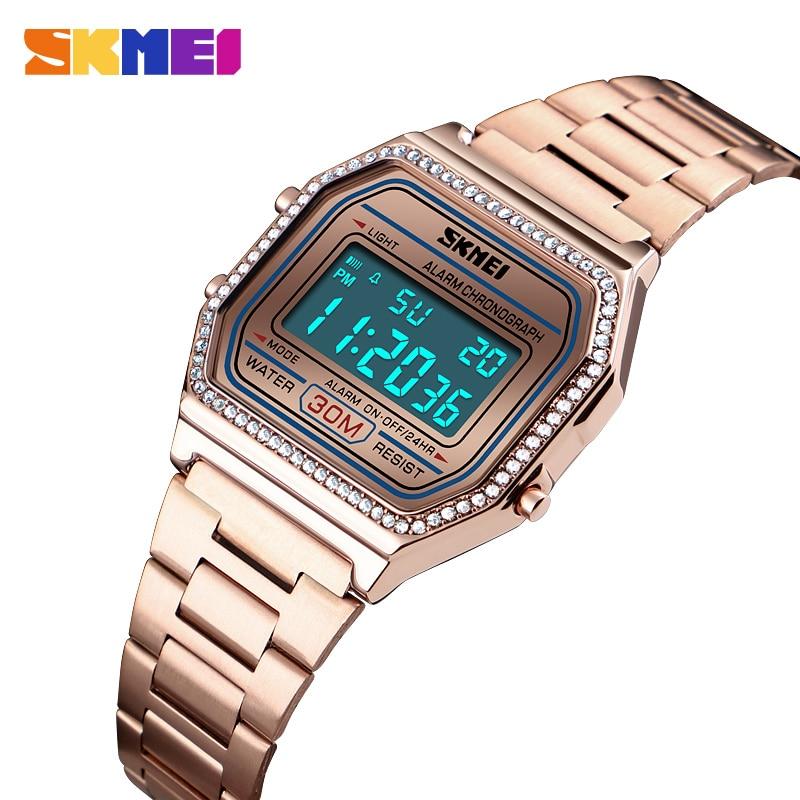Women Watch Digital Alarm Ladies Watches 30M Waterproof Week Chrono Digital Wristwatch Female Clock Relogio Feminino SKMEI 2019