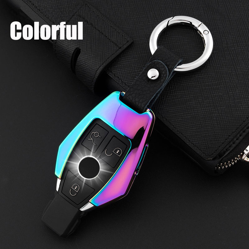Fashion Print Carbon Fiber Car key cover Key fobs skin shell case for Mercedes Benz W203 W204 W212 CLK C180 E200 AMG C E S Class