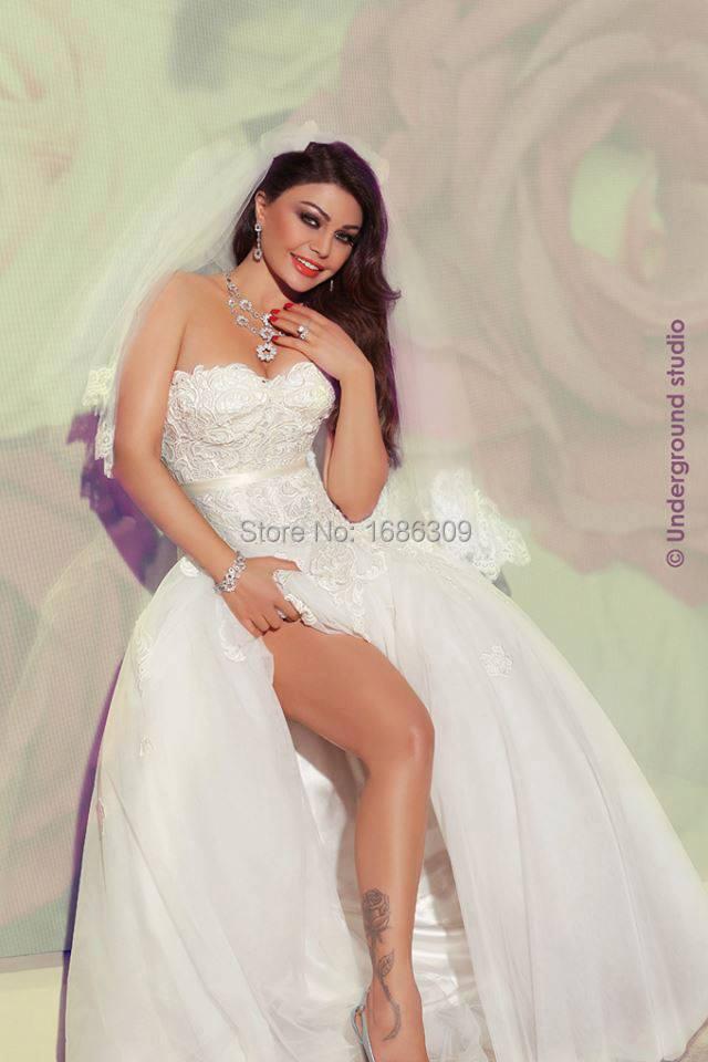 Lebanon Singer Haifa Wehbe Ivory White Lace Vintage -8471