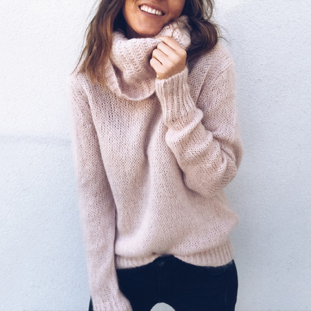 Womens Sweaters Autumn Winter Mohair Knitted Turtleneck Female Fashion OL Loose Long-sleeve Pullovers Plus Size Thick Clothes