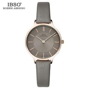 Image 3 - IBSO ماركة 8 مللي متر رقيقة جدا الكوارتز ساعة النساء جلد طبيعي النساء الساعات الفاخرة السيدات ساعة Montre فام