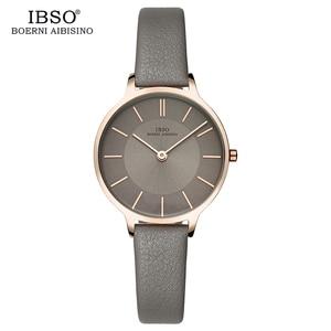 Image 3 - Ibso Merk 8 Mm Ultra Dunne Quartz Horloge Vrouwen Echt Lederen Vrouwen Horloges Luxe Dames Horloge Montre Femme