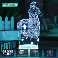 Fortnit Llama 3D Lamp Touch Switch Poke lamps Alpaca Crystal Crackle Base Night Light for Birthday Holiday Valentine's Day Gift