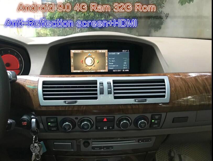 Écran Anti-reflet HDMI Android 9.0 moniteur de voiture pour BMW 7 Serise E65 E66 2003 2004 2005 2006 2007 2008 stéréo Radio vidéo