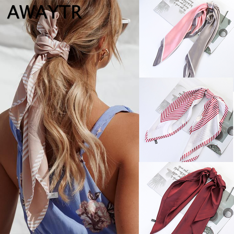 AWAYTR Spring Sweet Long Ribbon Scrunchie Women Hair Scarf  Print Girls Headband Hair Rubber Hairband Ropes Hair Accessories