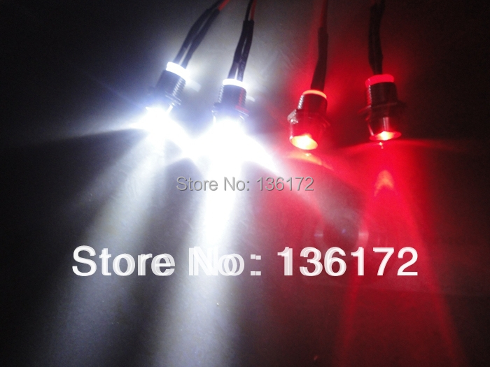 Ewellsold 2set / lot RC Accesorios para auto Kits de luces led para 1/10 1/8 1/5 rc Hobby car 4 luces kit