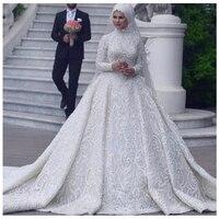 Арабское белое свадебное платье Индивидуальные аппликации с длинными рукавами длинные мусульманские Официальные Вечерние платья с больши