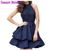 Короткие вечерние платья атласная бретельках Вечерние платья с карманами Для женщин простой индивидуальный заказ HD11