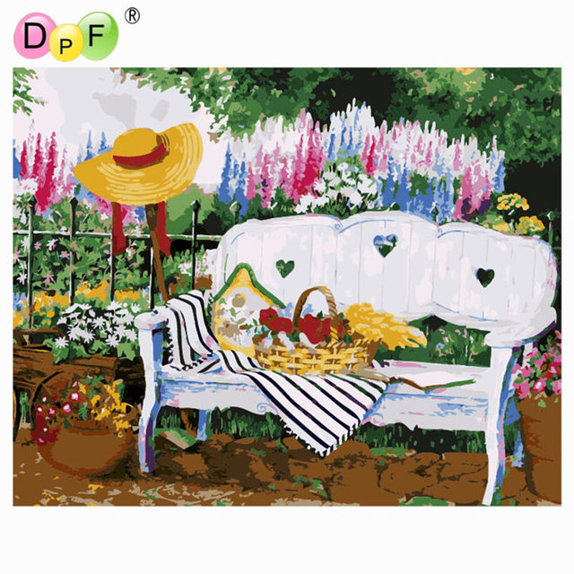 dpf diy oil painting garden sofa paint on canvas acrylic coloring by rh aliexpress com
