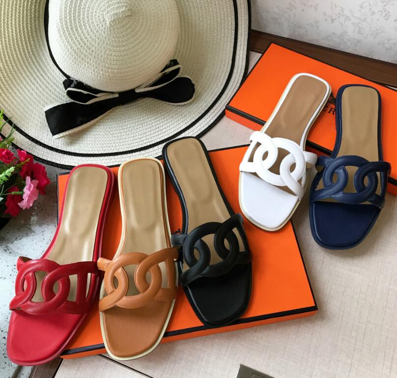d5591a91e Detail Feedback Questions about Brand Women's Shoes 2019 New H Slippers  Women Summer Leather Flat soled Slippers Fashion Beach Slippers outside  shoes 35 41 ...